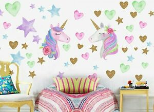 2 Sheets Unicorn Stickers Wall Decals for Bedroom, Removable Unicorn Home Decor