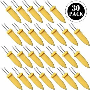 30 Pcs CORN HOLDERS Stainless Steel Corn On The Cob Skewers BBQ Prongs Forks