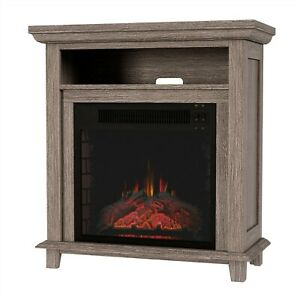 Electric Fireplace Console TV Stand or Accent Table Faux Logs LED Flame