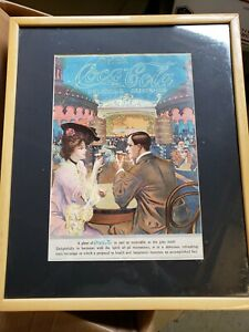 Rare orginal framed Coca Cola poster, ca. 1900s excellent