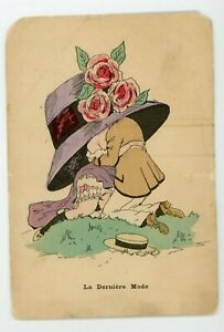 Playful romantic couple kissing under large hat risque vintage postcard $9.99