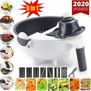 Magic 9 In 1 Multi-Functional Rotate Vegetable Cutter Grater With Drain Basket