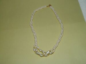 Elegant Multi Strand Faux Pearl Mother of Pearl MOP Bead Necklace $15.00