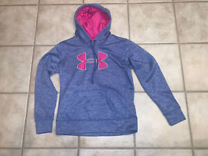 Under Armour Women's Blue Pullover Hoodie with Pink Logo S or Youth XL $9.00
