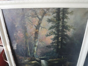 RARE ANTIQUE VINTAGE FOREST WATERFALL ARTIST KING 3 1929 ORIGINAL PAINTING OLD