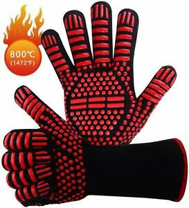 BBQ Gloves Silicone Heat Resistant Kitchen Cooking Non-slip Mitts Oven Grilling