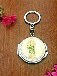 12 PCS St Jude Compact Mirror Keychain Baptism Christening Party Favor For Gift