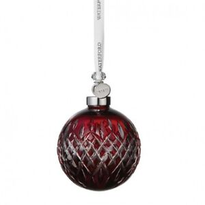 Waterford 2019 Ruby Ball Crystal Christmas Tree Ornament New