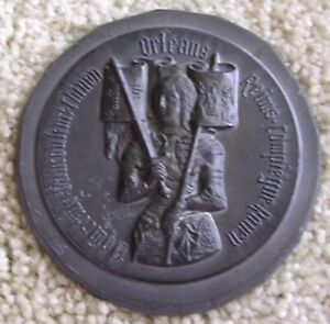 Ex rare Antique JOAN OF ARC Plaque by Pierre Lovy, French Medalist ca.1900s