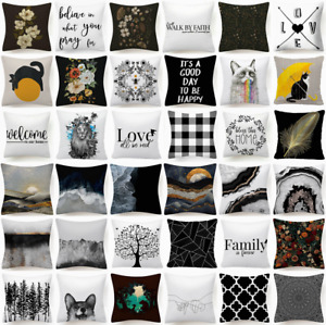 Cushion COVER White Black Soft 2-Sided Home Decor Decorative Pillow Case 18x18