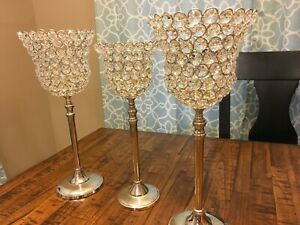 Acrylic Crystal Bead Pedestal Candle Holders - Home Decor - 3 Pieces