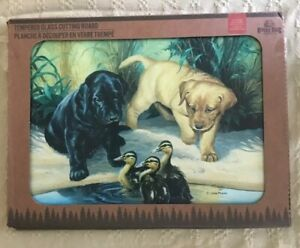 """River's Edge Tempered Glass Cutting Board 12""""x16"""" Lab Pups And Duckling"""