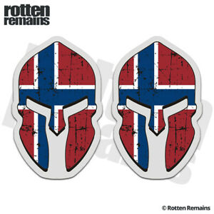 Norway Tattered Flag Spartan Helmet Decal Sticker SET Norwegian Nordic EMV