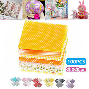 50 100pc Square Fabric Bundle Cotton Patchwork Sewing Quilting Tissues Cloth DIY $13.47
