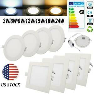 US 3W-24W Ultra Slim LED Panel Light Recessed Ceiling Down Lights Square/Round