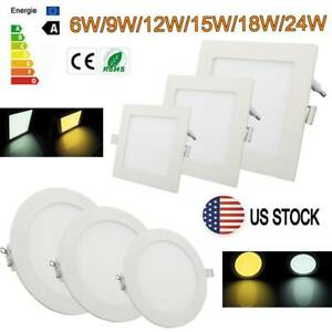 LED Recessed Ceiling Panel Light 6W 24W Down Light Ultra Slim Lamp Square Round