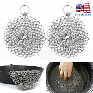 Stainless Steel Cast Iron Cleaner Chain Mail Scrubber Cookware Cleaning Tool US
