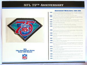 NATIONAL FOOTBALL LEAGUE 75th ANNIVERSARY NFL PATCH CARD Willabee amp; Ward 1994 $29.99