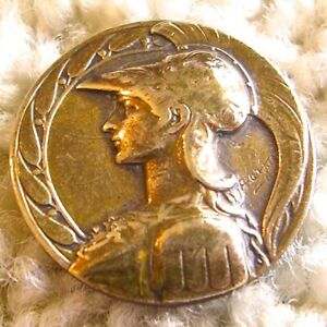 Rare Antique French Brass Armand Bargas button. ca.1880s early 1900s