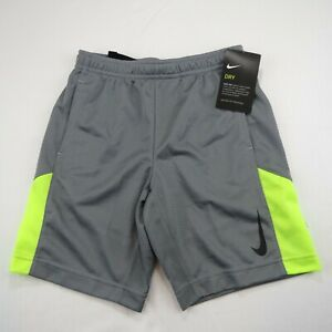 NIKE DRI FIT BOYS ATHLETIC SHORTS GRAY YELLOW SIZE 7 L NEW WITH TAG $5.50