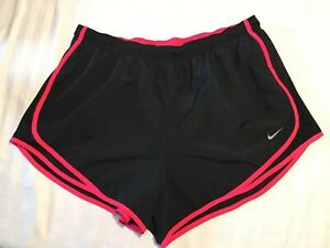 NIKE Womens Plus Size 1X Tempo Running Shorts Black Brief Lined EUC $17.25