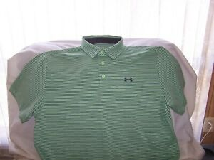 Mens Under Armour Green Striped Short Sleeve 3 Button Polo Shirt XLarge LOOSE $7.20
