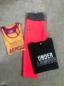 Lot Of 3 Girls Under Armour Athletic Wear Youth XL 2 Tops 1 cropped Leggings $1.99