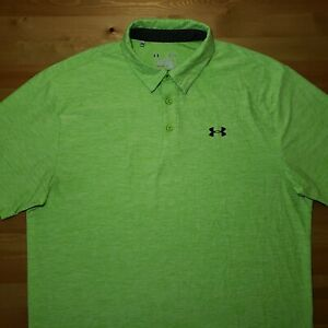 Under Armour Heatgear Loose Fit Mens Large Green Solid Short Sleeve Polo Shirt $24.99