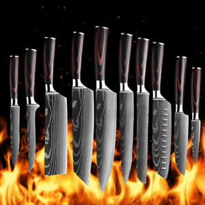 Kitchen Chef Knife Set Stainless Steel Laser Damascus Pattern Sharp Cleaver Gift