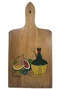 Vintage Cutting Board Cheese Board With Handle, Painted Wine Melons