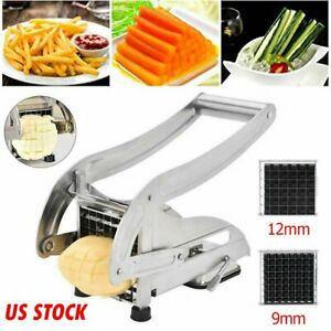 Stainless Steel French Fry Cutter Potato Vegetable Slicer Chopper 2 Blades USA