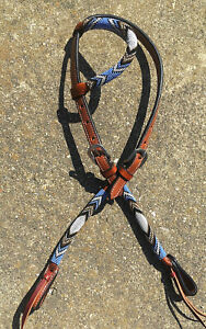 Western Horse Beaded One Ear Leather Headstall w Purple Gold White Beading $39.90