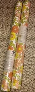VINTAGE Floral 1970's Fabric Back Yellow Orange Green Wallpaper 2 Double Rolls
