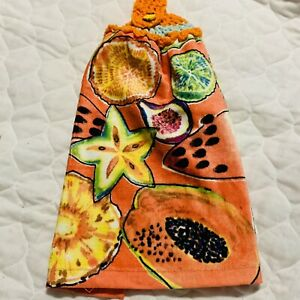 Fruits  Double Crochet Top Hanging Kitchen Dish Towel By Laura