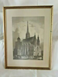 Vintage Framed Etching on Silk Unknown Cathedral $29.95