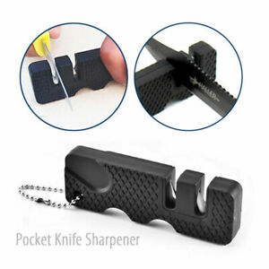 2pcs Mini Portable Outdoor Pocket Knife Sharpener 2stage Ceramic Sharpening Tool