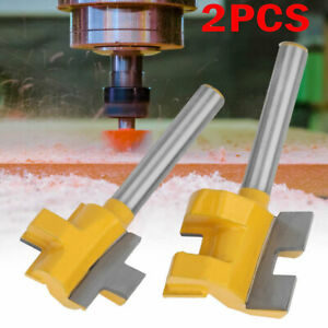 2Pcs 1/4in Shank 3 Teeth Groove Router Bit Milling Cutter For Woodworking Tools