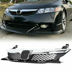 Fits For Honda Civic 2009 2011 4DR Front Bumper Grill Grille With Chrome Trim $38.40