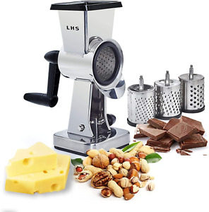 Rotary Cheese Grater Stainless Steel Body Chocolate Drum Slicer Shredder Cutter