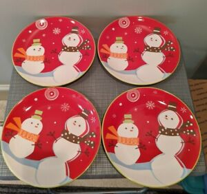 4 Target Be Merry 08 Snowman  Salad Lunch Holiday Plate Lot