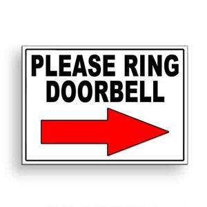 Please Ring Doorbell Arrow Right Metal Sign Or Decal 6 SIZES delivery MS095 $8.49