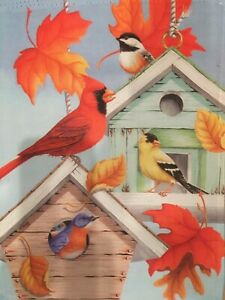 "DOUBLE BIRD HOUSE WITH FALL LEAVES  NEW GARDEN FLAG. 12"" X 18"""