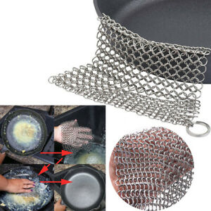 316 Stainless steel Big Chain Mail Cast Iron Cleaner Brush Scrubber 6*6