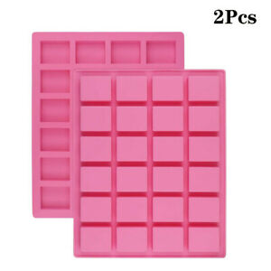 2Pack 24 cavity Rectangle Soap Mold Silicone Cake Mould For Candy Chocolate Mold $11.39