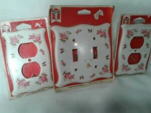 Vintage Trine 2 Outlet, 1 Double Switch Plate Covers Pink Rose Flower Bath Bed