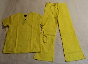 Natural Uniforms Women#x27;s S S Mock Wrap Scrub Set DD5 MM001 Yellow Small NWT