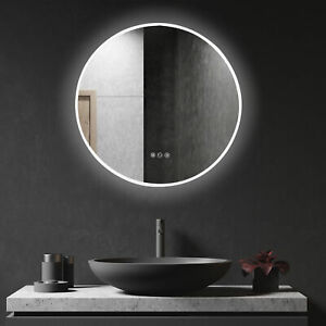 LED Lighted Round Bathroom Wall Mirror Aluminum Glass Makeup Touch Button