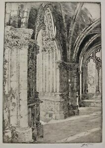 John Wesley Cotton Signed Etching Narthex Of An Old Church In France Chartres   $20.50