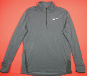 Nike $80 Mens L Therma Sphere Element Running 1 2 Zip Pullover Shirt Gray $15.49