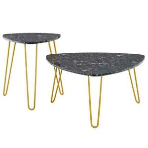 Nordic Simple Wrought Iron Golden Marble Sticker Side Small Coffee Table Black